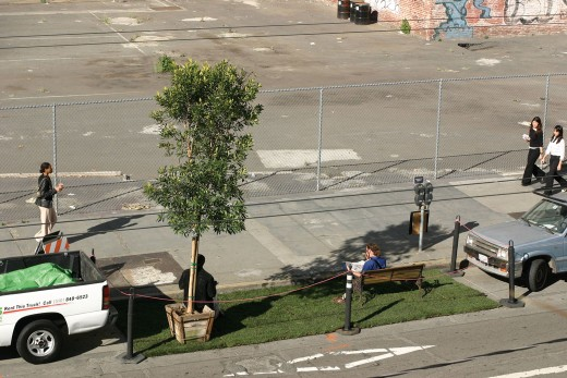 The original PARK(ing) installation by Rebar. San Francisco, 2005. Photo Rebar.